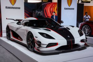 New York, USA - March 23, 2016: Koenigsegg One:1 on display during the New York International Auto Show at the Jacob Javits Center.